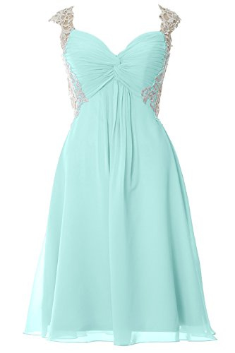 MACloth Women Lace Straps Chiffon Short Prom Dress Formal Party Evening Gown Aqua WAKXYP5r