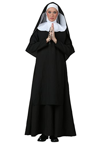 Women's Deluxe Nun Costume Plus Size Black Nun Costume 3X