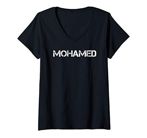 Womens MOHAMED Art Funny Arabic Name Somalia Muslim Gift Idea V-Neck T-Shirt -