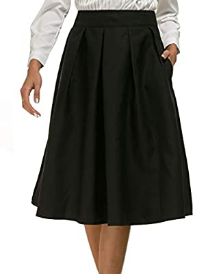 Women's High Waisted A Line Skater Flared Midi Skirt with Pocket