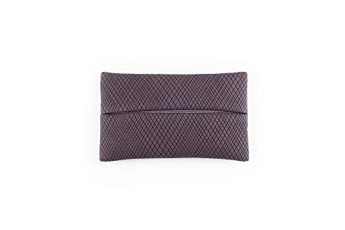 「Thing.Is」PU Leather Pocket Tissue Holder with mesh pattern, Travel Tissue Cover, Travel Tissue Holder, Portable Tissue Case, Tissue Pouch, Grey Purple