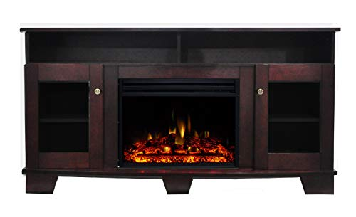 Cambridge Savona Heater with 59-in. Mahogany TV Stand, Enhanced Log Display, Multi-Color Flames, and Remote, CAM6022-1MAHLG3 Electric Fireplace