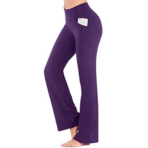 pan hui Women Yoga Pants with Pockets High Waist Workout Bootleg Pants Tummy Control Bootcut Work Pants Purple