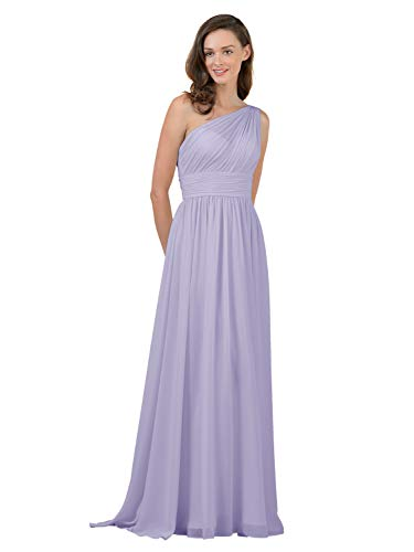 Alicepub One Shoulder Plus Size Bridesmaid Dress for Women Long Evening Party Gown Maxi, Lilac, US20