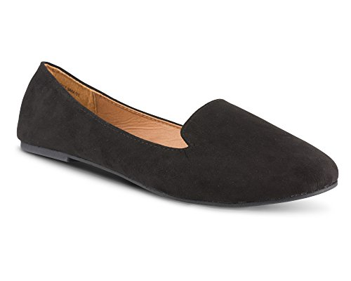 Twisted Womens Faux Suede Smoking Slipper Flats - SARA125 Black, Size 7 by Twisted (Image #1)