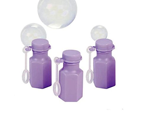 100 Mini Hexagon Lilac Bubble Bottles With Bubble Solution – Wedding Favors – Party Favors
