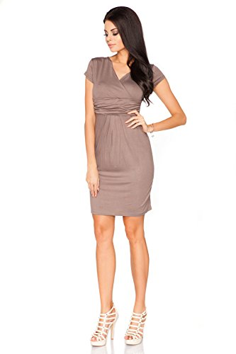 Femmes V FUTURO Robe Mini lgante Courtes Cappuccino Tailles Enveloppant Manches 18 Soire FASHION UK Col 8415 8 X55xwqYr8f