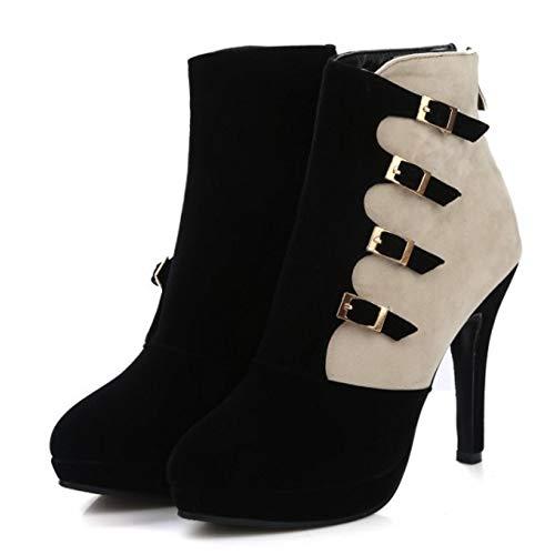 Femmes JOJONUNU Clair Fermeture Cheville Heel Bottes High adxxpqwfO
