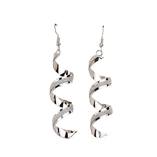 AILUOR Exquisite Sparkling Frosted Spiral Long Pierced Drop Earrings, Fashionable Curley Cue Twisted Spiral Gold Silver Loops Hook Dangle Earrings Stud Jewelry for Women Girl (Silver)