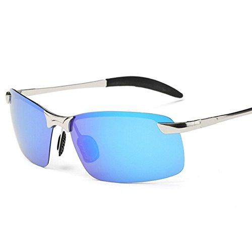 Del Metálico Deporte Plateado Sin TIANLIANG04 Gafas Polarizado blue Hombres Herraje Hombres De Negro Conducción mirror De Con CnnP5x