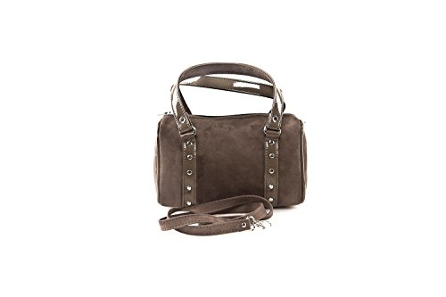 Bauletto borsa donna ANNALUNA taupe MADE IN ITALY camoscio borsetta da sera N326
