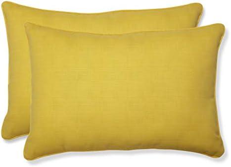 Pillow Perfect Outdoor Indoor Fresco Oversized Lumbar Pillows, 24.5 x 16.5 , Yellow, 2 Pack