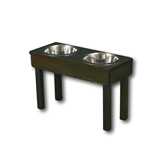 Original Large Bowl - OFTO Raised Dog Single or Double Bowls - Solid Wood Cat and Dog Bowl Stands, with Embossed Stainless Steel Bowl(s) -Large, Medium, and Universal Sizes - Eco-Friendly and Non-Toxic - Made in the USA