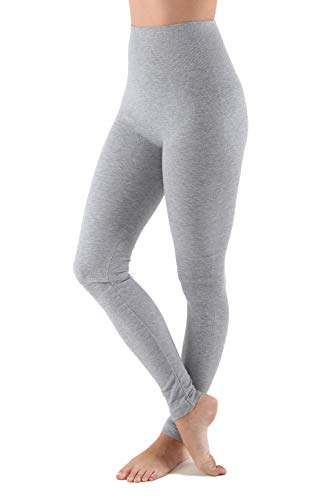 AEKO Womens Thick Yoga Soft Cotton Blend High Waist Workout Leggings with Tummy Control Compression