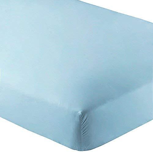 Bare Home Fitted Bottom Sheet Premium 1800 Ultra-Soft Wrinkle Resistant Microfiber, Hypoallergenic, Deep Pocket (King, Light Blue)