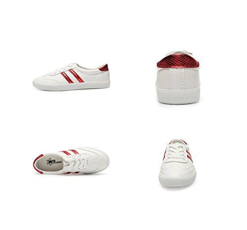 Leisure Color Size Running Simple Shoes Shoes 's Leather Red Shoes Skateboard Breathable Women Fashion Flat 38 Students bottomed 0v6awq