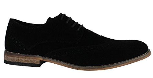 Classico Da Uomos Camoscio Sintetico Formale Casuale Scarpe Eleganti Brogue Con Lacci Nero
