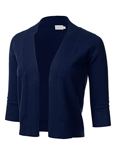 Women's Classic 3/4 Sleeve Open Front Cropped Cardigan Navy L