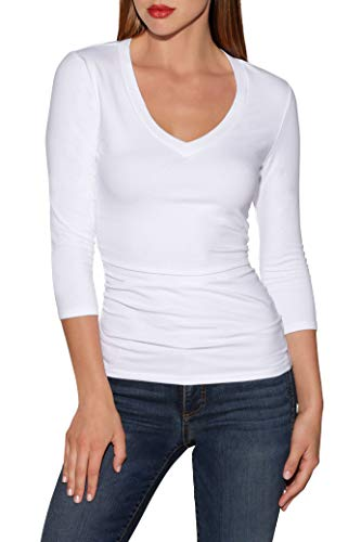 So Sexy Solid Color Women's Three Quarter Sleeve V Neck Knit Top White Medium