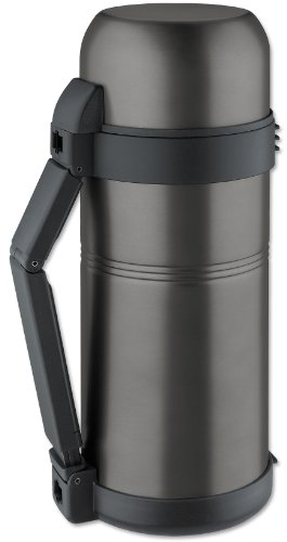 Isosteel VA-9560WQAT 51 fl. oz. Stainless Steel Vacuum insulated Bottle, Extra Wide Opening, Srew Stopper, Quickstop System for One Hand Use, Isulating Plastic Drinking Mug, BPA free, Titanium Gray