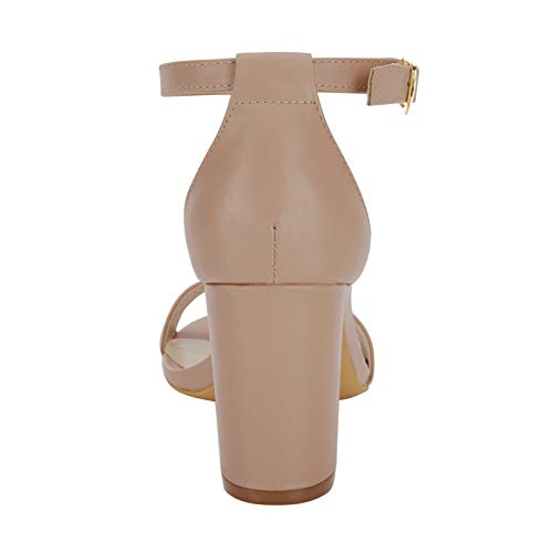 d4b8d5e6980 Eunicer Women s Single Band Classic Chunky Block High Heel Sandals Ankle  Strap Dress Shoes (Half