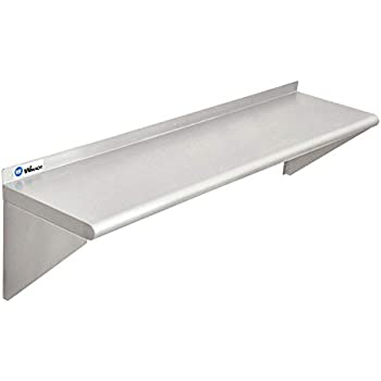 WMAOT Stainless Steel Kitchen Shelf 12 x 48 Inches, Commercial Grade NSF Wall Shelving for Hotel and Restaurant, 250 Lb Heavy Duty