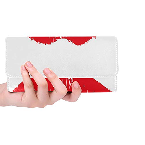 Unique Custom Big Red Lips Track On White Background Women Trifold Wallet Long Purse Credit Card Holder Case Handbag