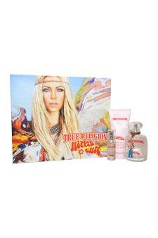 Hippie Chic by True Religion Brand Jeans for Women - 3 Pc Gift Set 1.7oz EDP Spray, 0.25oz EDP Spray, 3oz Shimmering Body Lotion (Hippie Brand Jeans)