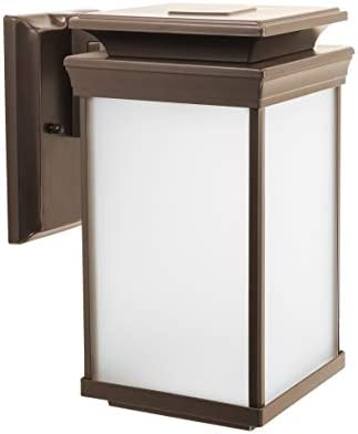 CORAMDEO Outdoor LED Wall Lantern, Sconce or Porch Light, 12.5W with 1000 Lumens Replaces Standard 100W Traditional Fixture, Durable Aluminum Housing with Frosted Glass, Bronze Finish