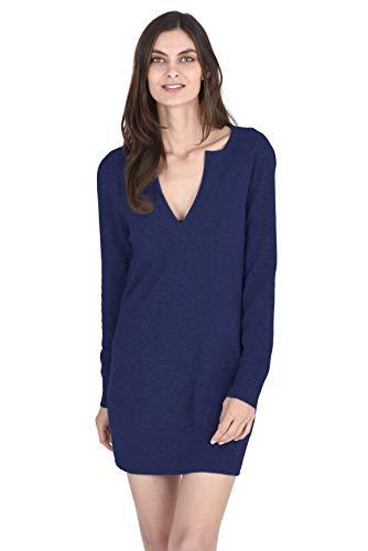 State Cashmere Women's 100% Cashmere Long Sleeve V-Neck Sweater Dress Navy