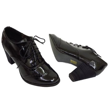Buy womens black lace up brogue shoes