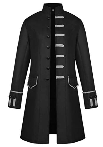 Single Breasted 1 Loose Mens Jacket security Coat Retro Fit Long Medieval Steampunk UZ4Iwtq