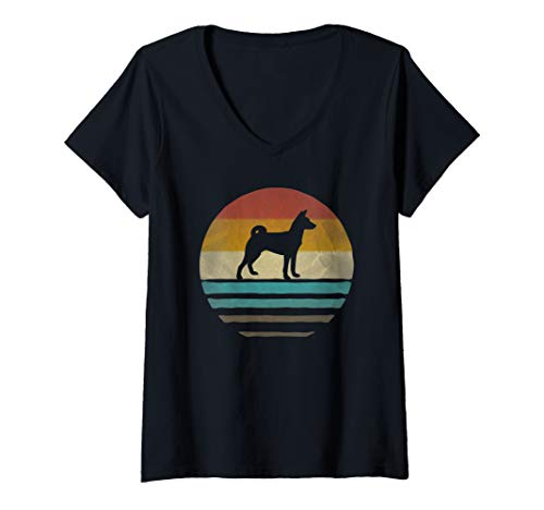 (Womens Retro Vintage Sunset Basenji Dog Breed Lover Silhouette Gift V-Neck)