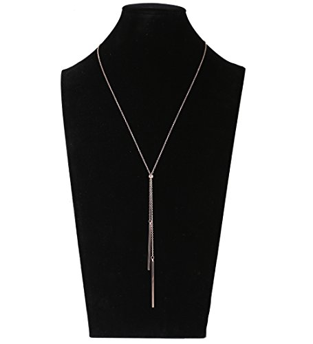 Price comparison product image Lariatneck Long Tassel Necklace Bar Y Lariat Long Chain Drop Adjustable Necklace for Women (Rose Gold-tone)