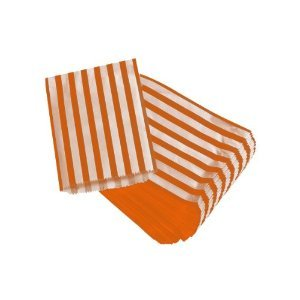 100 x ORANGE STRIPED / STRIPE PAPER CANDY BAGS - 5