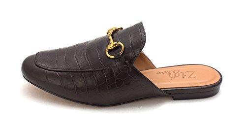 ZIGI SOHO Womens Mallary Leather Almond Toe Mules, Black/Croc, Size 9.0 (Soho Black Leather)