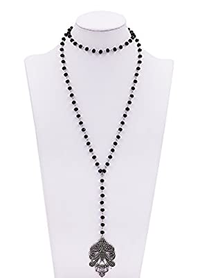 Geerier Vintage Long Pendant Necklace Tassel Black Leather With Beads