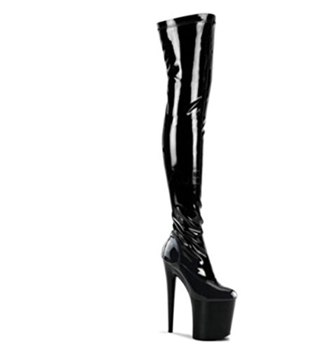 Black Womens Party Boots Sexy Nightclub Fall EUR39UK665 Knee PU Boot Over Heel Stretch NVXIE High Red Super Long Waterproof Thigh Artificial Winter Delight UR4qdxdn