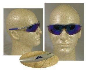 (MCR TM14G Crews Tremor Safety Glasses Silver frame Emerald Mirror Lens, 1 Pair)