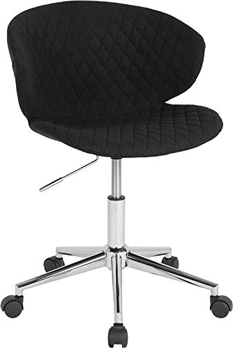 - StarSun Depot Cambridge Home and Office Upholstered Mid-Back Chair in Black Fabric 24.5