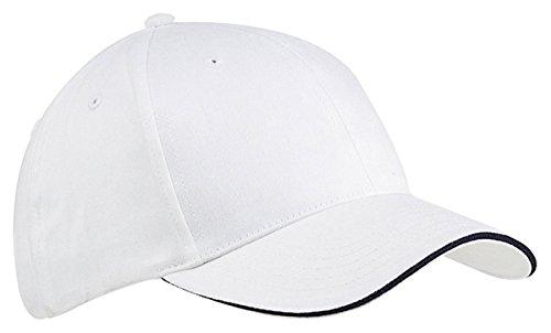(Big Accessories 6-Panel Twill Sandwich Baseball Cap (BX004)- White/Navy,One Size)