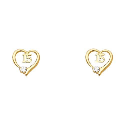 14k Yellow Gold Sweet 15 Years Stud Earrings with Screw Back 14k Yellow Gold Sweet