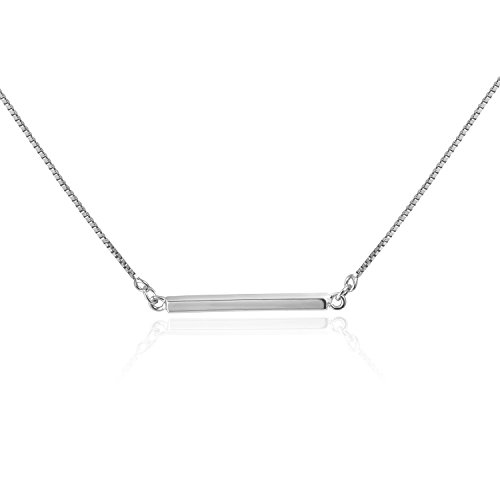 Amkaka Sterling Silver Bar Pendant Charm Necklace for ()