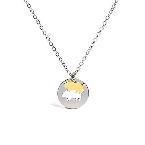 - NOUMANDA Farm Animals Piggy Pig Pendant Necklace Charm Spirit Creative Circle Round Flying Pig Necklace Gift (Gold)
