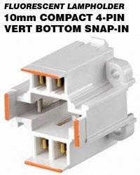 Leviton 26725-403 CFL Lampholder 4-Pin G24q-3, GX24q-3 Base 26W Bottom Snap-In Vertical Mount - White/Orange (Package of 5)