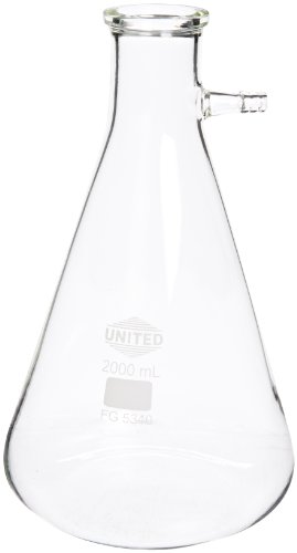 United Scientific FG5340-2000 Borosilicate Glass Heavy Wall Filtering Flask, Bolt Neck with Tubulation, 2000ml Capacity (Heavy Wall Filtering Flasks)