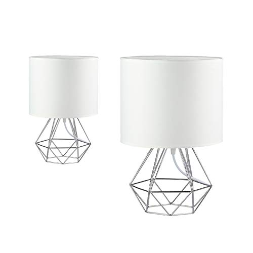 Modern Vintage White Desk Table Lamps for Living Room Bedroom - Set of 2 Lamps - Minimalist Industrial Style Bedside Lamp w/Metal Hollowed Out Base & Fabric Shade - Ecopower Geometric Light Cage (Lamp Table Base White)