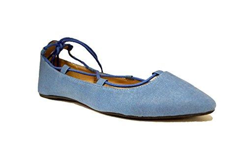 Charles Albert Ghille Lace Up Pointy Toe Leg Tie Ballet Flat (10, Denim Blue)