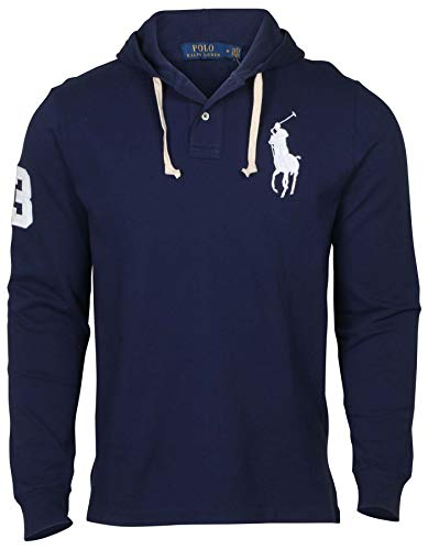 Polo Ralph Lauren Men's Long Sleeve Solid Big Pony Cotton Hooded Shirt Hoodie