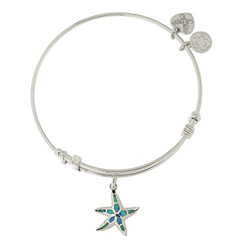 Angelica Silver-Tone Simulated Blue Opal Starfish Charm Bangle Bracelet -  Beauniq